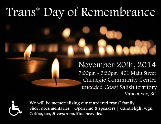 poster for the 2014 Vancouver Trans* Day of Remembrance